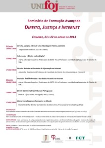 Programa Curso Direito, Justiça e Internet Coimbra 2013